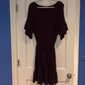 Belted ruffle sleeve dress